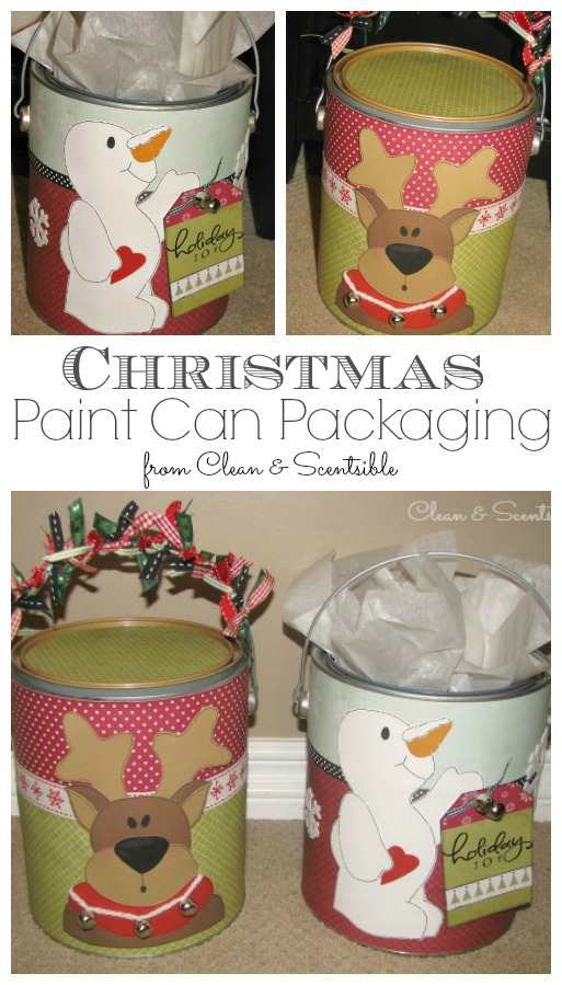 Christmas Paint Can Packaging - Such a fun way to wrap up a Christmas gift!