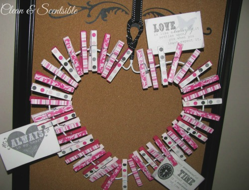 "Clothes Peg Valentine's Day Wreath - Clip up personalized ""love notes"" or favorite photos!"