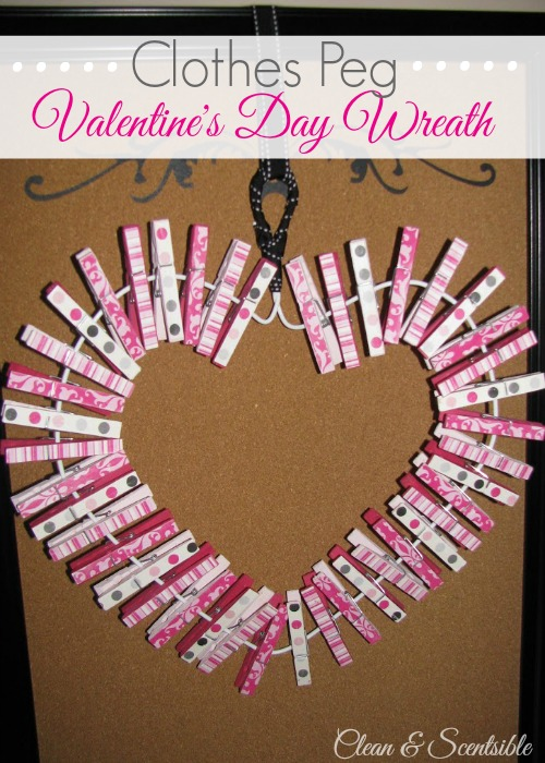 "Valentine's Day Clothespin Wreath - This is a great way to display ""love notes"" or favorite photos!"