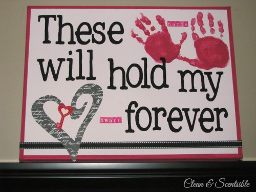 Sweet Valentine's Day handprint canvas!