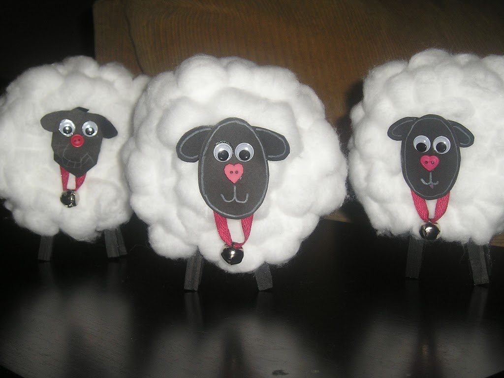 Ideas for childrens creativity: lamb from cotton buds
