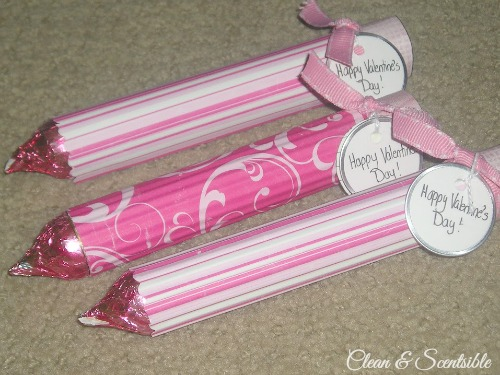 Valentine's Day pencils made from a package of Rolos and a Hershey's kiss.