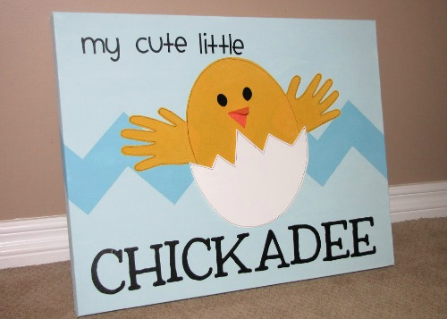 I love anything with children's handprints and this little chickadee canvas is so cute!
