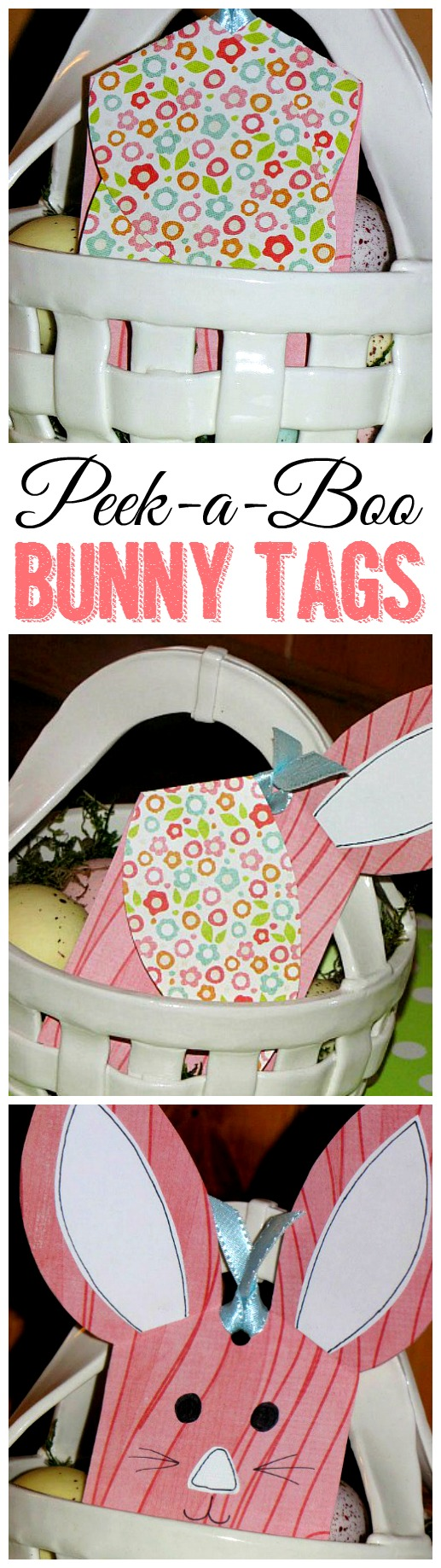 Cute peek-a-boo bunny tags with free template.