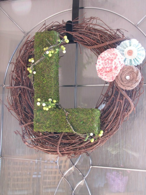 Moss initial wreath.