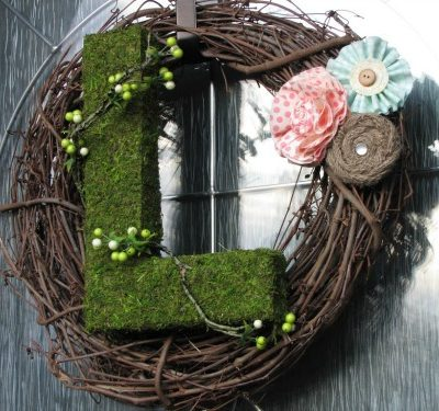 Moss Initial Wreath