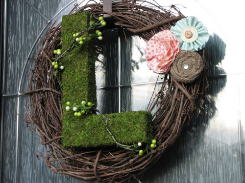 Moss Initial Wreath