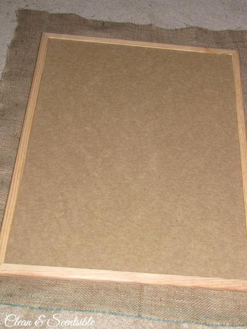 DIY Burlap Bulletin Board tutorial.