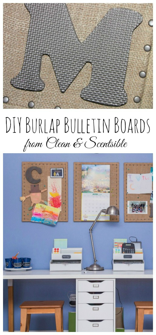 DIY Burlap Bulletin Board Tutorial.  This is such as quick and easy way to dress up boring bulletin boards. // from Clean & Scentsible