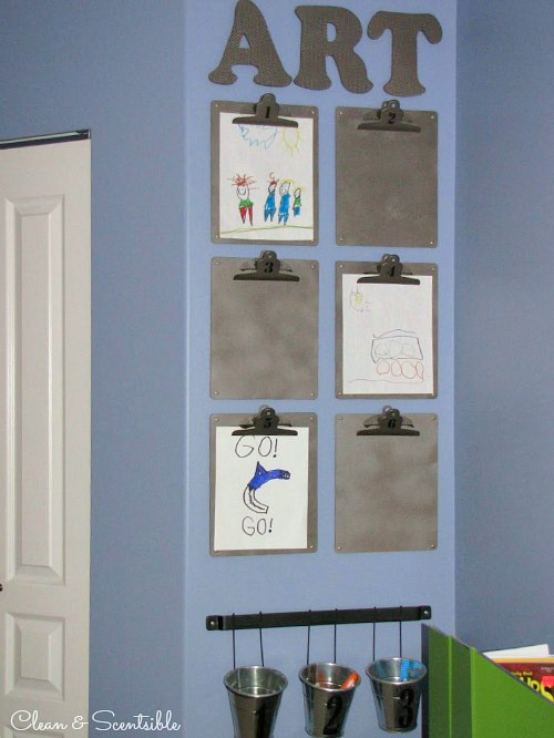 Such a cute and easy way to display kids' artwork!
