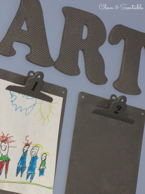 Cute and inexpensive way to display kids' artwork!