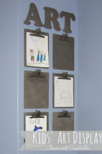 Cute and inexpensive way to display your kids' artwork!