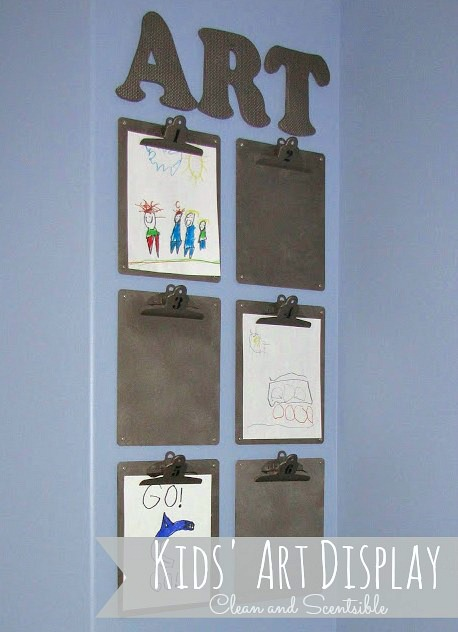 Easy idea for a kid's art display!