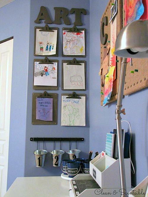 Burlap bulletin boards for homework station.