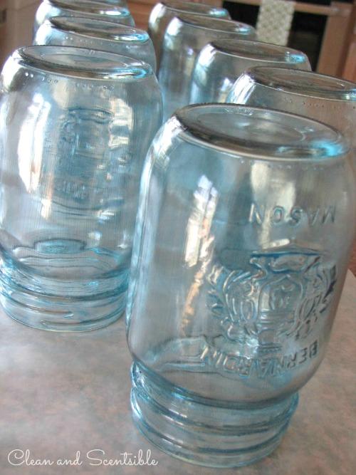 DIY Blue Mason Jars - so pretty!