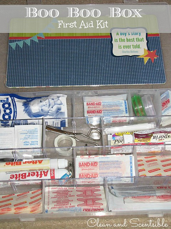 Boo-Boo Box first aid kit.  Keep all of your supplies organized and easily accessible.  Pack it up for camping trips or day trips - perfect for summer!