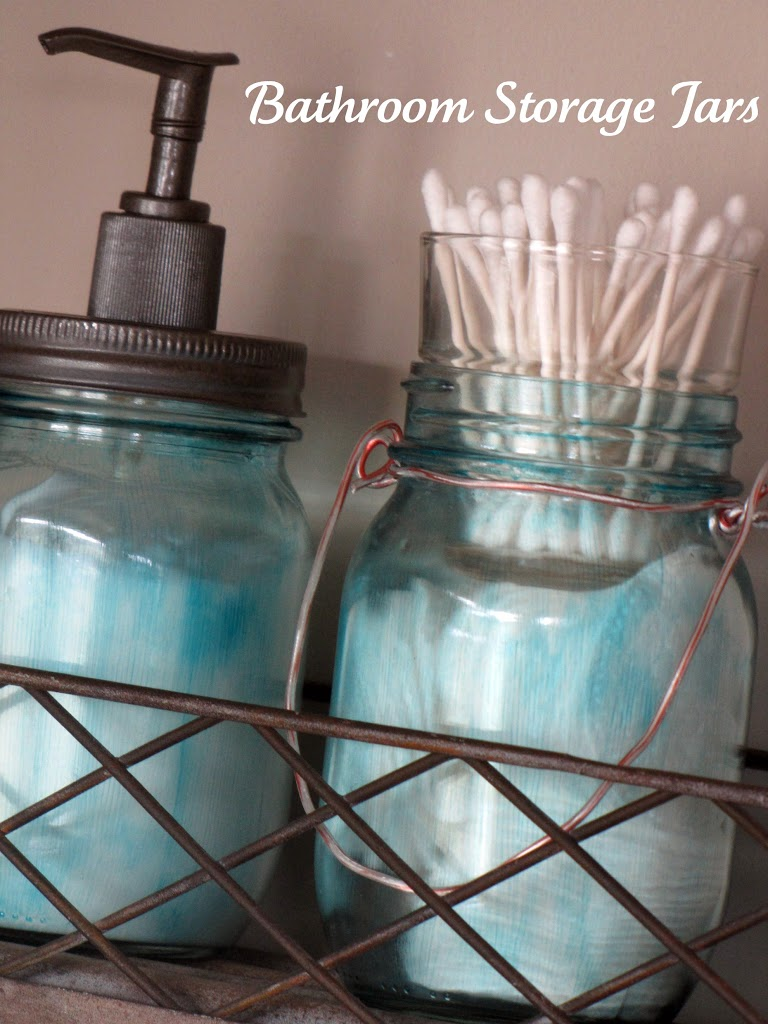 I found the Q-tip jar idea on Pinterest {of course!}. I filled the mason  jar with cotton pads, added a votive holder from the dollar store and  filled the ...