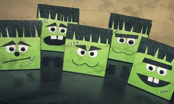 Cute Frankenstein treat bags - great for a Halloween party or fun treats!