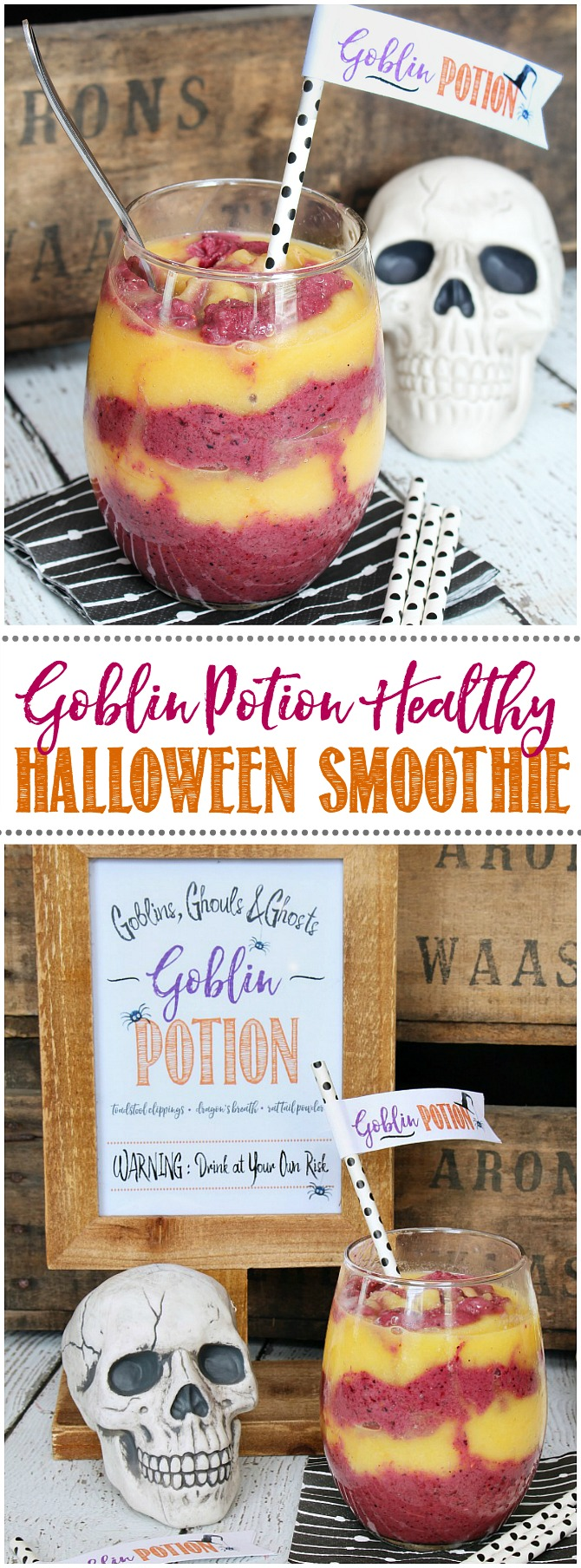 Goblin potion healthy Halloween smoothie with swirls or orange and berry smoothie.