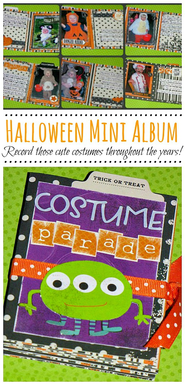 Cute mini album to record all of the Halloween costumes throughout the years.