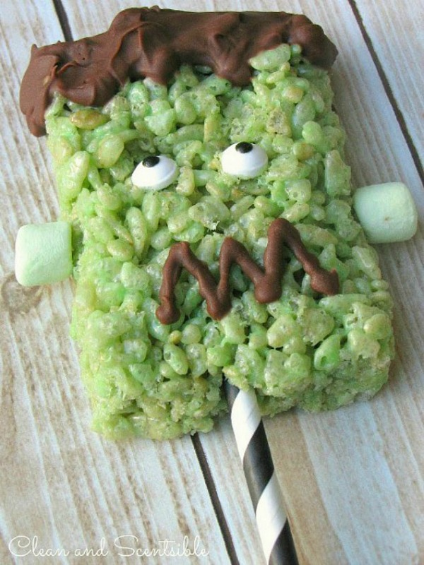 Cute Frankenstein Rice Krispie pops