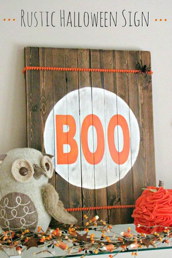 DIY Rustic Halloween Boo sign with owl.