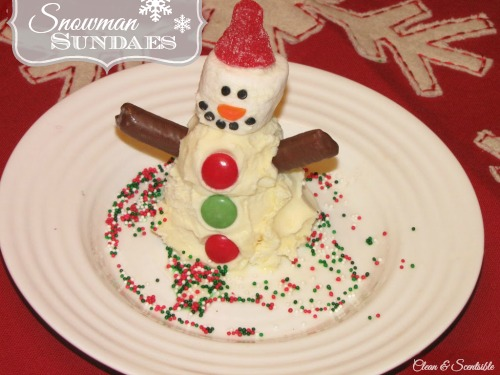 Cute snowman sundaes.  The kids would love this!
