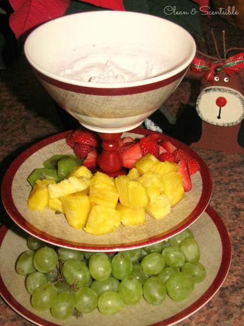 Easy DIY Tiered Christmas Platter.  Perfect for dips for fruit, veggies, or crackers.