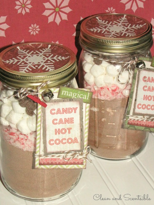 Candy Cane Hot Chocolate in amson jars.  Such a cute gift idea!