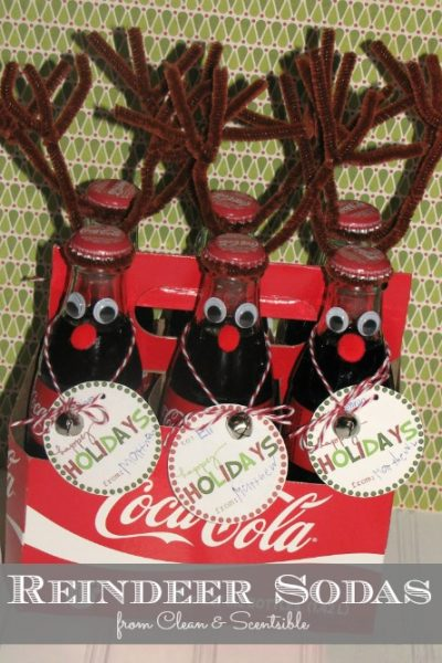 Cute reindeers sodas! These would make a fun class treat or neighbour gift!