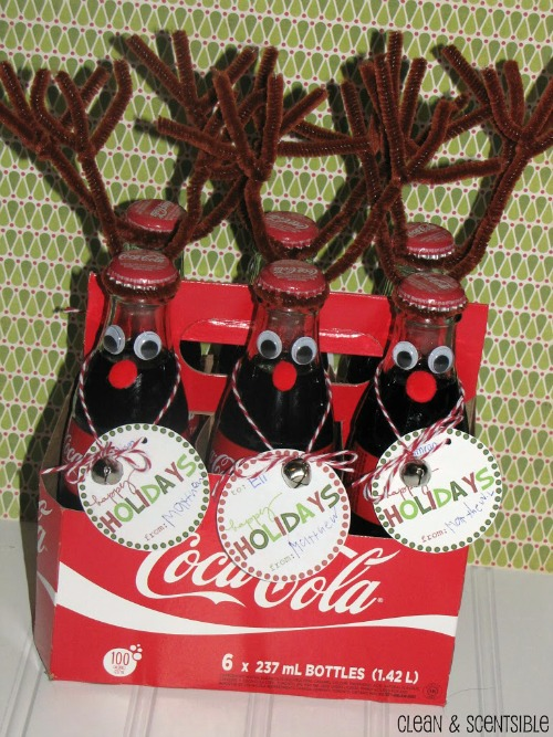 Cute reindeer soda!  These would make a fun class treat or neighbour gift!