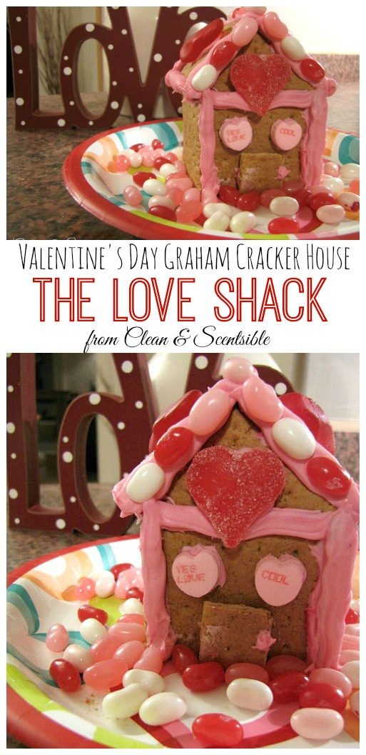 Valentine's Day Gingerbread House using graham crackers.  So fun for the kids!