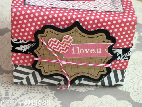 Make a cute Valentine's Day treat box from 2 sheets of scrapbooking paper.