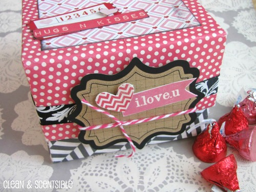 Make a cute Valentine's Day treat box from 2 sheets of scrapbook paper.