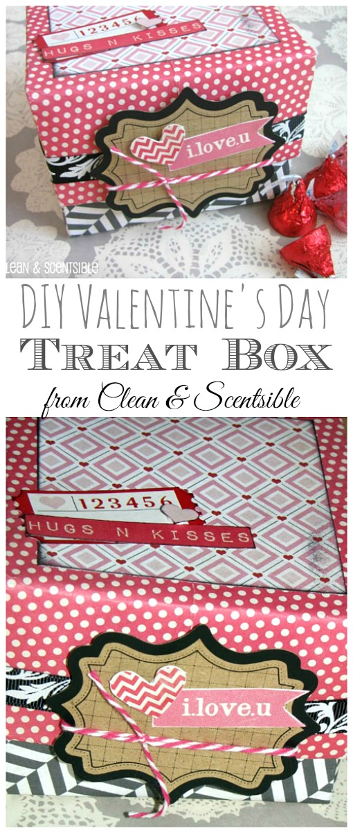 Make a cute Valentine's Day treat box using 2 sheets of scrapbook paper.