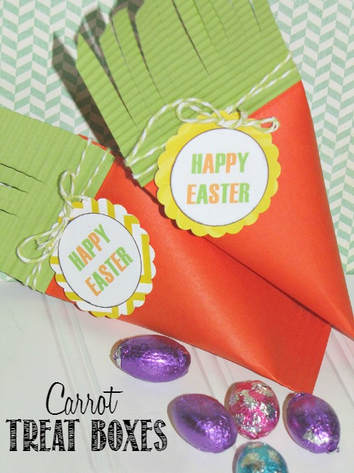These carrot treat boxes are so cute and so easy to make!  They would be really cute for the kids' table at Easter! // cleanandscentsible.com