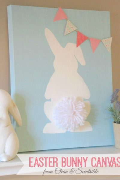 Cute Easter Bunny Canvas. Love the pom pom tail! // cleanandscentsible.com