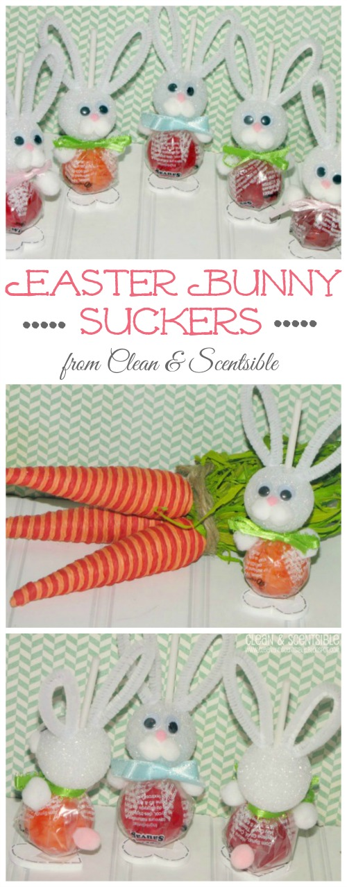 Easter bunny suckers Easter craft using suckers and some basic craft supplies.