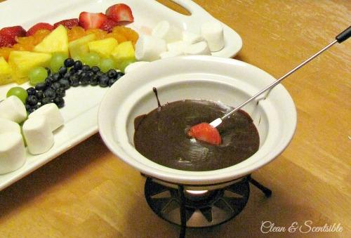 St. Patrick's Day chocolate fondue.