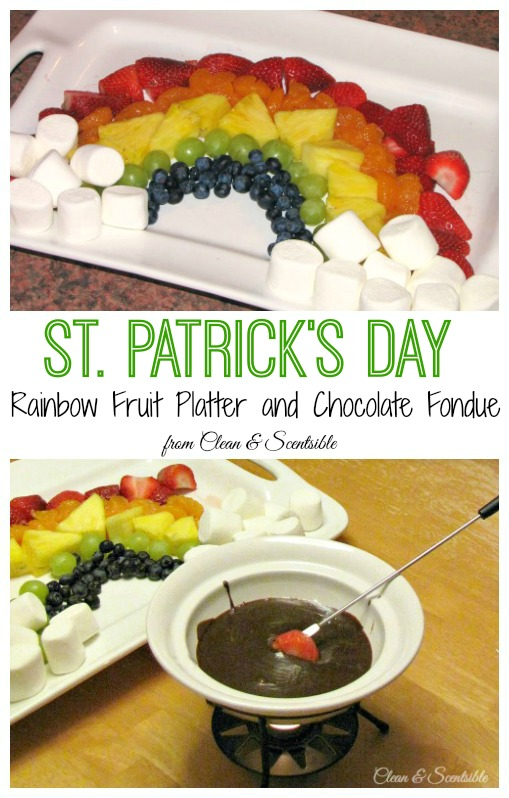 St. Patrick's Day Rainbow Fruit Platter and Chocolate Fondue.  A fun family tradition!