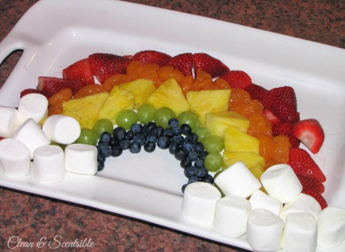 St. Patrick's Day rainbow fruit platter and chocolate fondue.