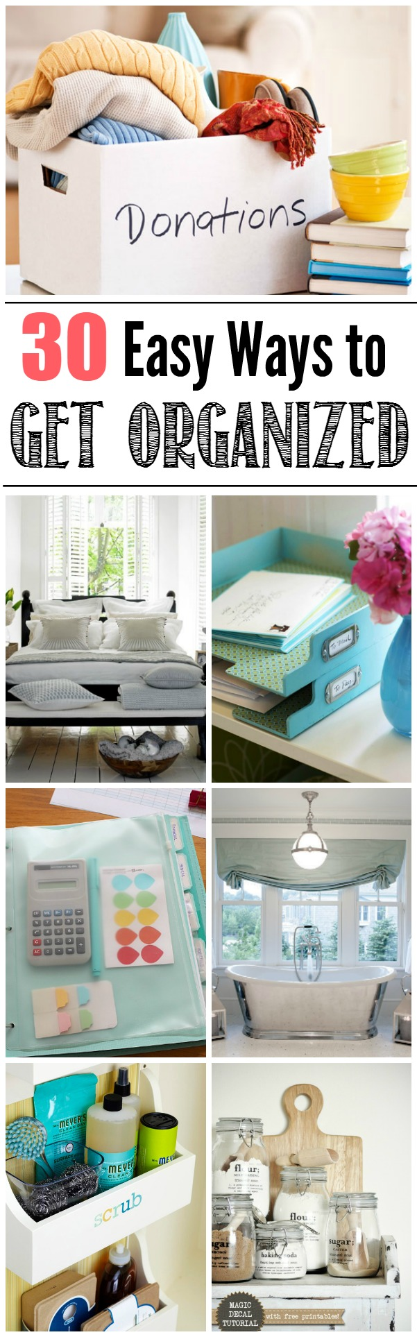 Lots of tips and ideas to help you organize your life.  See what works for you!