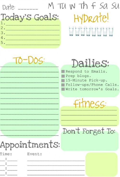 Daily To Do List Cute Elitadearest