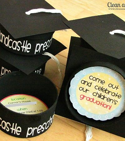 Cute graduation cap invitations! Easy to make with free printables included! // cleanandscentsible.com