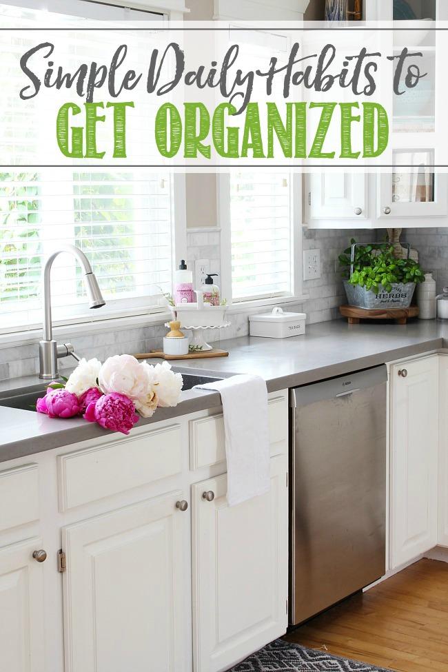 Organized farmhouse style white kitchen.