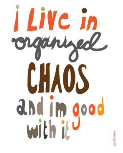 I live in organized chaos quote.