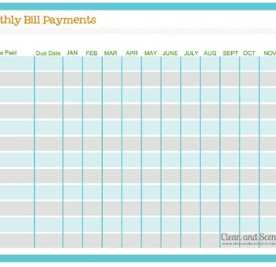 Monthly Bill Payment Log - free printable.