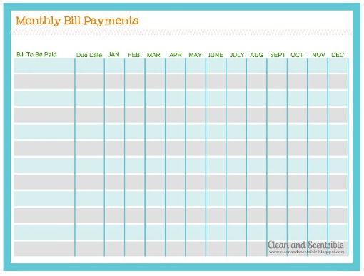 Free Printable Monthly Bill Payment Schedule