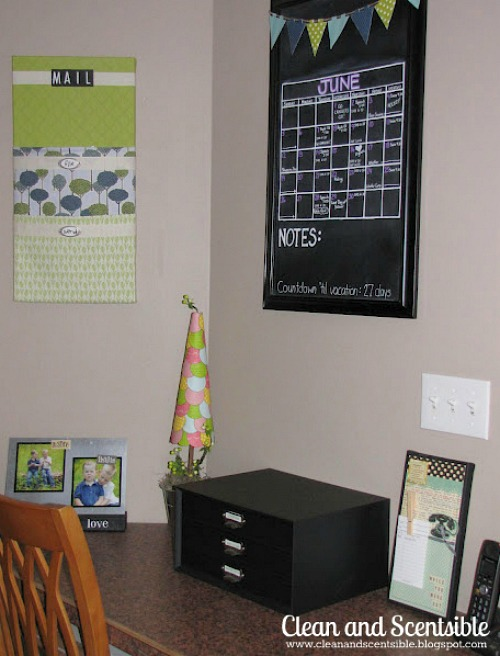 Kitchen command centre and tips on tackling paper clutter.