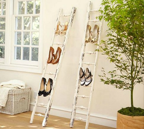 Love these ladders to hold shoes for storage!